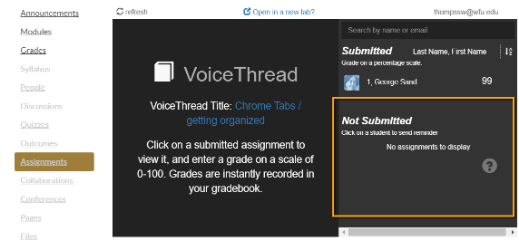 """VoiceThread screenshot showing a """"Not Submitted"""" message."""