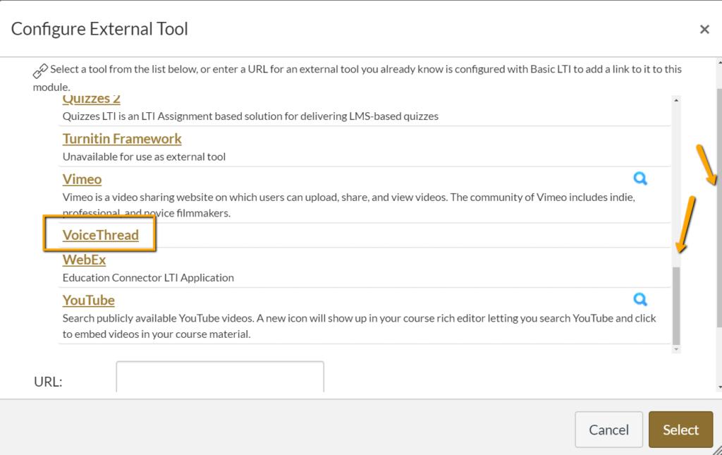 Canvas configure external tool screenshot highlighting VoiceThread