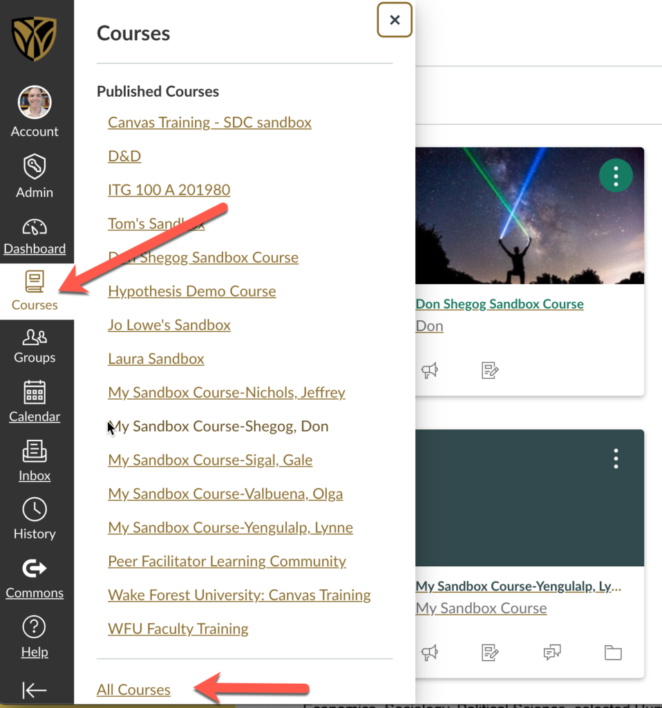 shows Canvas Coures button and the All Courses link