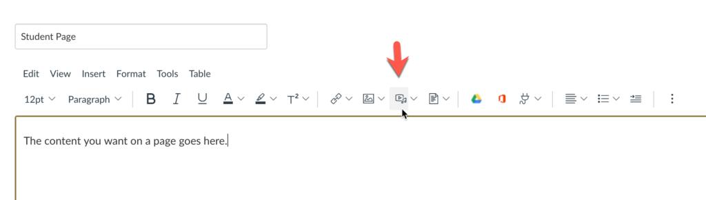 Canvas's Media button