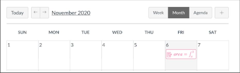 Screenshot of Canvas calendar entry displaying an equation